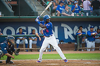 Faustino Oguisten (6) of the Ogden Raptors at bat against the Helena Brewers in Pioneer League action at Lindquist Field on August 19, 2015 in Ogden, Utah. Ogden defeated Helena 4-2. (Stephen Smith/Four Seam Images)