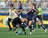 FC Gold Pride midfielder Leslie Osborne (10) against Washington Freedom midfielder Lori Lindsey (6).   Washington Freedom defeated FC Gold Pride 3-1at the Maryland SoccerPlex, Sunday May 31, 2009.