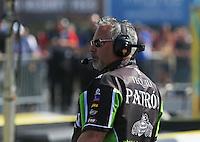 Apr. 7, 2013; Las Vegas, NV, USA: NHRA crew chief Tommy Delago for funny car driver Alexis DeJoria during the Summitracing.com Nationals at the Strip at Las Vegas Motor Speedway. Mandatory Credit: Mark J. Rebilas-