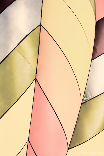 Close-up of hot air balloons in retro peach color scheme