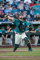 David Parrett #12 of the Coastal Carolina Chanticleers throws during a College World Series Finals game between the Coastal Carolina Chanticleers and Arizona Wildcats at TD Ameritrade Park on June 27, 2016 in Omaha, Nebraska. (Brace Hemmelgarn/Four Seam Images)