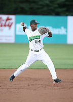 Osvaldo Martinez of the Jamestown Jammers, Class-A affiliate of the Florida Marlins, during New York-Penn League baseball action.  Photo by Mike Janes/Four Seam Images