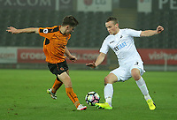 Pictured: Tom Plezier of Swansea City (R)Monday 13 March 2017<br /> Re: Premier League 2, Swansea City U23 v Wolverhampton Wanderers FC at the Liberty Stadium, Swansea, UK
