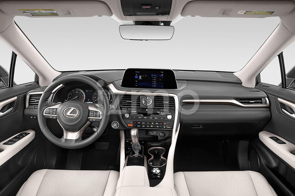 Stock photo of straight dashboard view of 2021 Lexus RX 350 5 Door SUV Dashboard