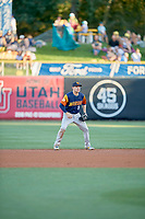 Corban Joseph (5) of the Las Vegas Aviators during the game against the Salt Lake Bees at Smith's Ballpark on July 20, 2019 in Salt Lake City, Utah. The Aviators defeated the Bees 8-5. (Stephen Smith/Four Seam Images)