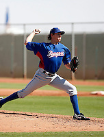 Tanner Scheppers - Texas Rangers 2009 Instructional League. .Scheppers made his first appearance as a Ranger in an Instructional League game against the Cleveland Indians at the Indians training complex in Goodyear, AZ - 10/05/2009. He pitched one scoreless inning..Photo by:  Bill Mitchell/Four Seam Images..