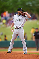 Jackson Generals pitcher Tony Zych (22) looks in for the sign during a game against the Montgomery Biscuits on April 29, 2015 at Riverwalk Stadium in Montgomery, Alabama.  Jackson defeated Montgomery 4-3.  (Mike Janes/Four Seam Images)