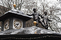 "Laurel and Hardy statue unveiled at the launch of ""Scenes in the Square"" statue trail in Leicester Square, London.<br /> <br /> ©Ash Knotek  D3558 27/02/2020"