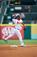 Buffalo Bisons shortstop Gregorio Petit (13) throws to first base during a game against the Syracuse Chiefs on July 3, 2017 at Coca-Cola Field in Buffalo, New York.  Buffalo defeated Syracuse 6-2.  (Mike Janes/Four Seam Images)