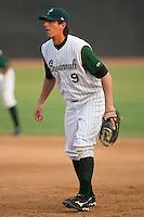 First baseman Jefferies Tatford (9) of the Savannah Sand Gnats on defense at Grayson Stadium in Savannah, GA, Wednesday August 6, 2008  (Photo by Brian Westerholt / Four Seam Images)