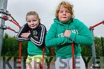 Twins, Bláthnaid and Rosalyn Buckley from Kilflynn enjoying their afternoon in the Abbeydorney playground on Tuesday.
