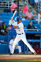 Dunedin Blue Jays first baseman Max Pentecost (10) at bat during a game against the Clearwater Threshers on April 8, 2017 at Florida Auto Exchange Stadium in Dunedin, Florida.  Dunedin defeated Clearwater 12-6.  (Mike Janes/Four Seam Images)
