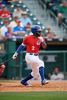 Buffalo Bisons Dwight Smith Jr. (2) bats during a game against the Indianapolis Indians on August 17, 2017 at Coca-Cola Field in Buffalo, New York.  Buffalo defeated Indianapolis 4-1.  (Mike Janes/Four Seam Images)
