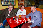 Enjoying the evening in the Horseshoe Bar in Listowel on Thursday, l to r: Tom McNamara from Ballylongford, Mary and PJ Connole from Galway.