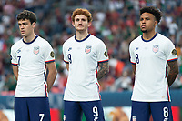 DENVER, CO - JUNE 6: Gio Reyna, Josh Sargent, Weston McKennie of the United States during a game between Mexico and USMNT at Mile High on June 6, 2021 in Denver, Colorado.