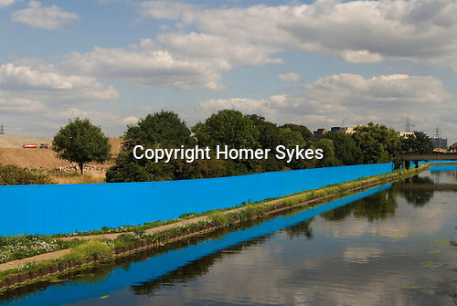 East London Lea Valley  site of the 2012 Olympic Games village and arena, Hackney England 2007. Boundary protective fence around site. From Eastway Bridge road Hackney London E9.