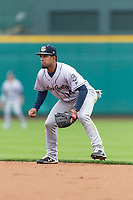 Kane County Cougars second baseman Eddie Hernandez (14) during a Midwest League game against the Fort Wayne TinCaps at Parkview Field on April 30, 2019 in Fort Wayne, Indiana. Kane County defeated Fort Wayne 7-4. (Zachary Lucy/Four Seam Images)