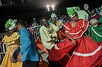 CALI - COLOMBIA. 14-08-2019: El grupo de músca autóctona Mano e´ Currulao hace su presentación durante el primer día del XXIII Festival de Música del Pacífico Petronio Alvarez 2019 el festival cultural afro más importante de Latinoamérica y se lleva acabo entre el 14 y el 19 de agosto de 2019 en la ciudad de Cali. / The group makes its performance of autochthonous music Mano e´ Currulao during the XXII Pacific Music Festival Petronio Alvarez 2019 that is the most important afro descendant cultural festival of Latin America and takes place between August 14 and 19, 2019, in Cali city. Photo: VizzorImage/ Gabriel Aponte / Staff