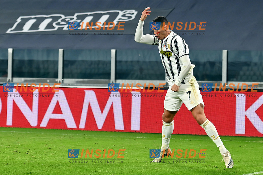 Cristiano Ronaldo of Juventus FC celebrates after scoring a goal during the Serie A football match between Juventus FC and Cagliari Calcio at Allianz stadium in Torino (Italy), November21th, 2020. Photo Giuliano Marchisciano / Insidefoto