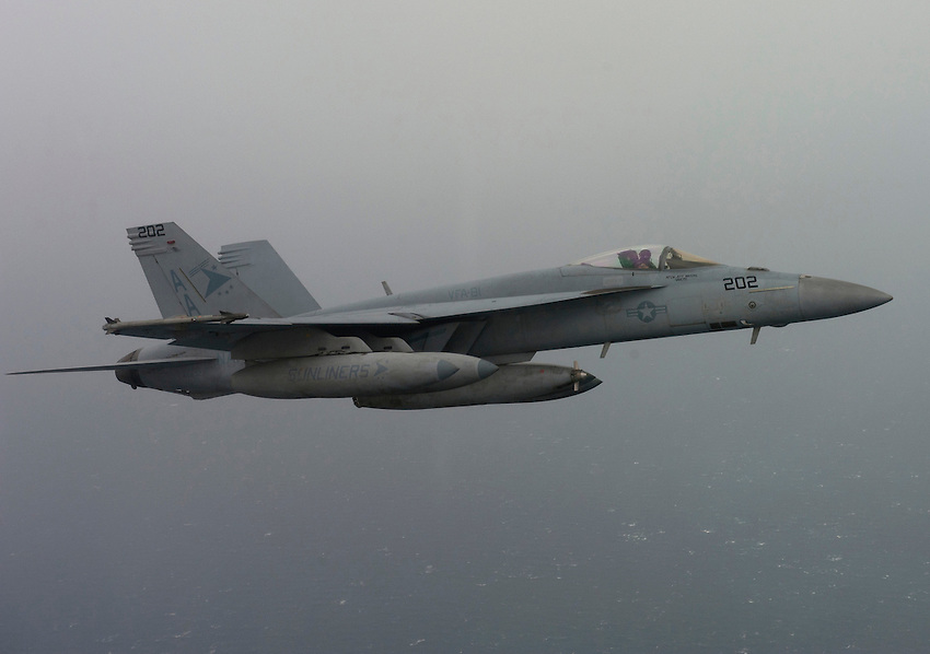 120225-N-DR144-897 ARABIAN GULF (Feb. 25, 2012) An F/A-18E Super Hornet assigned to Strike Fighter Squadron (VFA) 81, flown by Cmdr. Michael River forms up for an aerial refueling during a mission flown from the Nimitz-class aircraft carrier USS Carl Vinson (CVN 70). Carl Vinson and Carrier Air Wing (CVW) 17 are deployed to the U.S. 5th Fleet area of responsibility.  (U.S. Navy photo by Mass Communication Specialist 2nd Class James R. Evans/Released)