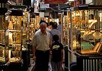 Palestinians walk inthe golds market in Gaza City, Wednesday, Aug. 29, 2007. (FADY ADWAN)