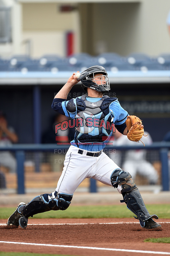 Charlotte Stone Crabs catcher Maxx Tissenbaum (19) throws down to second during a game against the Fort Myers Miracle on April 16, 2014 at Charlotte Sports Park in Port Charlotte, Florida.  Fort Myers defeated Charlotte 6-5.  (Mike Janes/Four Seam Images)