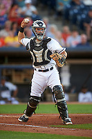 Akron RubberDucks catcher Jeremy Lucas (12) throws to first during a game against the Richmond Flying Squirrels on July 26, 2016 at Canal Park in Akron, Ohio .  Richmond defeated Akron 10-4.  (Mike Janes/Four Seam Images)