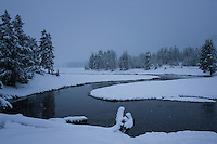 Snowing in Yellowstone National Park
