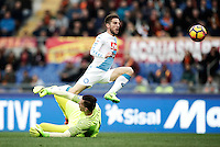 Napoli's Dries Mertens, right, scores his first goal as Roma's goalkeeper Wojciech Szczesny tries to stop him during the Italian Serie A football match between Roma and Napoli at Rome's Olympic stadium, 4 March 2017. <br /> UPDATE IMAGES PRESS/Isabella Bonotto