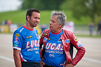 May 31, 2019; Joliet, IL, USA; NHRA pro stock motorcycle rider Hector Arana Jr (left) with father Hector Arana Sr during qualifying for the Route 66 Nationals at Route 66 Raceway. Mandatory Credit: Mark J. Rebilas-USA TODAY Sports