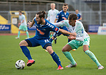 11.10.2020, Marschwegstadion, Oldenburg, GER, RL Nord,, Gruppe Süd VfB Oldenburg vs SV Werder Bremen U23,  DFL regulations prohibit any use of photographs as image sequences and/or quasi-video, im Bild<br /> Nico MATERN (VfB Oldenburg #8 ) Marin PUDIC (SV Werder Bremen U23 #14 )<br /> <br /> Foto © nordphoto / Rojahn