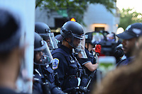 Washington, DC - May 31, 2020: DC Police peacefully engage protesters near the White House May 31, 2020 following the death of George Floyd in Minneapolis.  (Photo by Don Baxter/Media Images International)