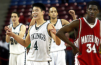 Cooper Miller, Jeremy Lin, and Steven Brown celebrate their victory over Mater Del High during Friday, March 17, 2006, California Interscholastic Federation State Championship game. Palo Alto High School won game 51-47  ( @ Photo by Norbert von der Groeben )
