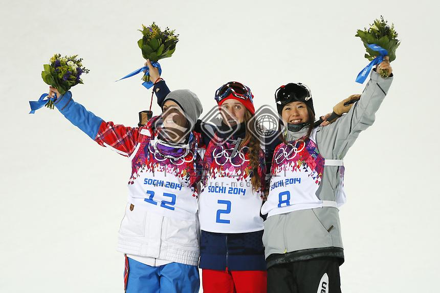 (L-R) Marie Martinod (FRA), Maddie Bowman (USA), Ayana Onozuka (JPN), <br /> Freestyle Skiing - Halfpipe finals<br /> Rosa Khutor  X-treme Park, Rosa Khutor<br /> 2014 Sochi Winter Olympics - Russia<br /> 20.02.2014 Sochi, Krasnodar Krai, Russia. <br /> © Sport the library / Yohei Osada