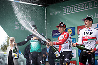 champagne showering podium:<br /> <br /> 1st place - Caleb Ewan (AUS/Lotto Soudal)<br /> 2nd place - Pascal Ackermann (GER/Bora Hansgrohe) <br /> 3th place -  Jasper Philipsen (BEL/UAE) <br /> <br /> 99th Brussels Cycling Classic 2019<br /> One Day Race: Brussels > Brussels 189.4km<br /> <br /> ©kramon