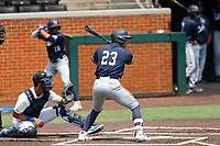 Liberty Flames designated hitter Brady Gulakowski (23) at bat against the Duke Blue Devils in NCAA Regional play on Robert M. Lindsay Field at Lindsey Nelson Stadium on June 4, 2021, in Knoxville, Tennessee. (Danny Parker/Four Seam Images)