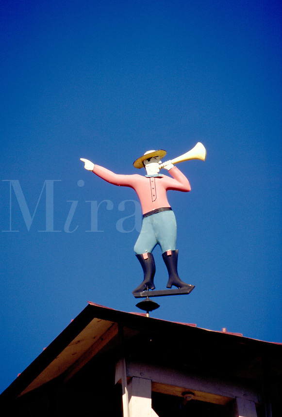 """Fair Play Fire Co. No. 1 firehouse, the oldest volunteer fire company in Indiana, is topped by """"""""Little Jimmy"""""""", a painted tin weathervane in the form of a fireman calling volunteers. Madison Indiana."""