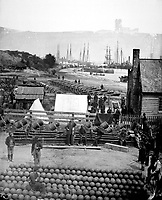 City Point, view in 1864.  Mathew Brady Collection.  (Army)<br /> Exact Date Shot Unknown<br /> NARA FILE #:  111-B-296<br /> WAR & CONFLICT BOOK #:  201
