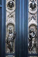 San Francisco, California, USA. Grace Cathedral (Episcopal). Entrance Door Detail, Copy of Original by Sculptor Lorenzo Ghiberti.