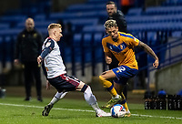 Bolton Wanderers' Ali Crawford competing with Mansfield Town's Kellan Gordon (right) <br /> <br /> Photographer Andrew Kearns/CameraSport<br /> <br /> The EFL Sky Bet League Two - Bolton Wanderers v Mansfield Town - Tuesday 3rd November 2020 - University of Bolton Stadium - Bolton<br /> <br /> World Copyright © 2020 CameraSport. All rights reserved. 43 Linden Ave. Countesthorpe. Leicester. England. LE8 5PG - Tel: +44 (0) 116 277 4147 - admin@camerasport.com - www.camerasport.com