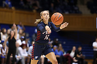 DURHAM, NC - NOVEMBER 29: Kendall Grasela #11 of the University of Pennsylvania passes the ball during a game between Penn and Duke at Cameron Indoor Stadium on November 29, 2019 in Durham, North Carolina.