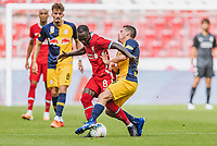 25th August 2020, Red Bull Arena, Slazburg, Austria; Pre-season football friendly, Red Bull Salzburg versus Liverpool FC;  Naby Keita FC Liverpool tackled by Zlatko Junuzovic FC Red Bull Salzburg