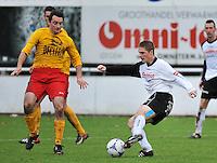 Racing Waregem - SK Eernegem : Livio Proot met de assist voor de 1-0 voorbij de verdedigende Giovanni Sandra (links)<br /> foto VDB / Bart Vandenbroucke