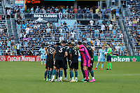 ST PAUL, MN - AUGUST 14: Los Angeles Galaxy huddle during a game between Los Angeles Galaxy and Minnesota United FC at Allianz Field on August 14, 2021 in St Paul, Minnesota.
