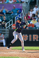 Vermont Lake Monsters Logan Davidson (3) at bat during a NY-Penn League game against the Aberdeen IronBirds on August 18, 2019 at Leidos Field at Ripken Stadium in Aberdeen, Maryland.  Vermont defeated Aberdeen 6-5.  (Mike Janes/Four Seam Images)