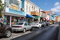 Willemstad, Curacao, Lesser Antilles.  Breedestraat Street Scene.