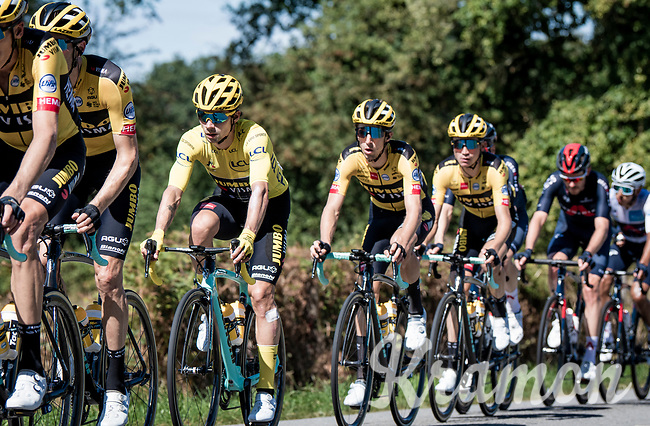 yellow jersey / GC leader Primoz Roglic (SVK/Jumbo-Visma) moving around in his yellow bubble<br /> <br /> Stage 12 from Chauvigny to Sarran (218km)<br /> <br /> 107th Tour de France 2020 (2.UWT)<br /> (the 'postponed edition' held in september)<br /> <br /> ©kramon