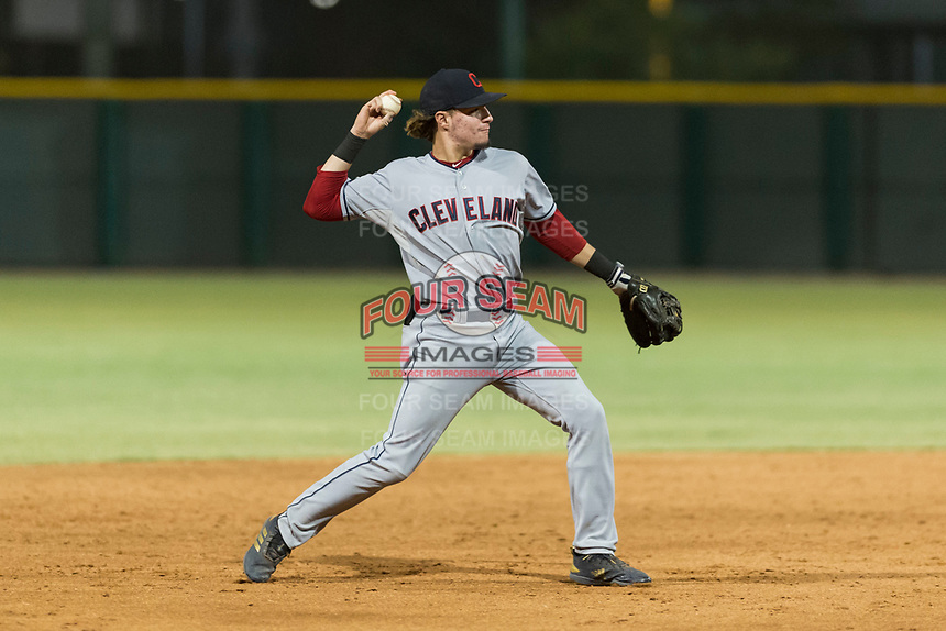 AZL Indians 2 shortstop Raynel Delgado (32) throws to first base during an Arizona League game against the AZL Cubs 2 at Sloan Park on August 2, 2018 in Mesa, Arizona. The AZL Indians 2 defeated the AZL Cubs 2 by a score of 9-8. (Zachary Lucy/Four Seam Images)