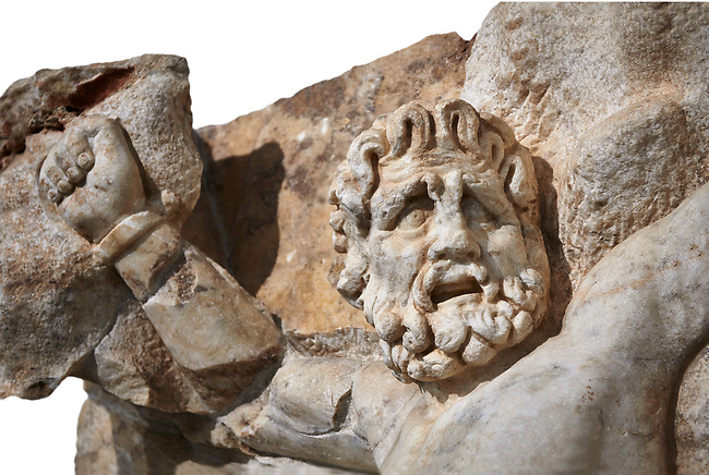 Detail of a Roman Sebasteion relief sculpture of Zeus and Prometheus, Aphrodisias Museum, Aphrodisias, Turkey.    <br /> <br /> Prometheus is screaming in pain. Zeus had given him a terrible punishment for giving fire to man: he was tied to the Caucasus mountains and had his liver picked out daily by an eagle. Herakles shot the eagle and is undoing the first manacle. He wears his trade mark lion-skin and thrown his club to one side. A small mountain nymph, holding a throwing stick appears amongst the rocks.