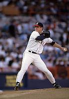 Jim Abbott of the California Angels during a 1995 season game at Anaheim Stadium in Anaheim,California.(Larry Goren/Four Seam Images)